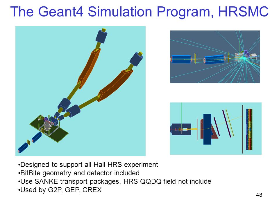 The Geant4 Simulation Program, HRSMC 48 Designed to support all Hall HRS experiment BitBite geometry and detector included Use SANKE transport packages.