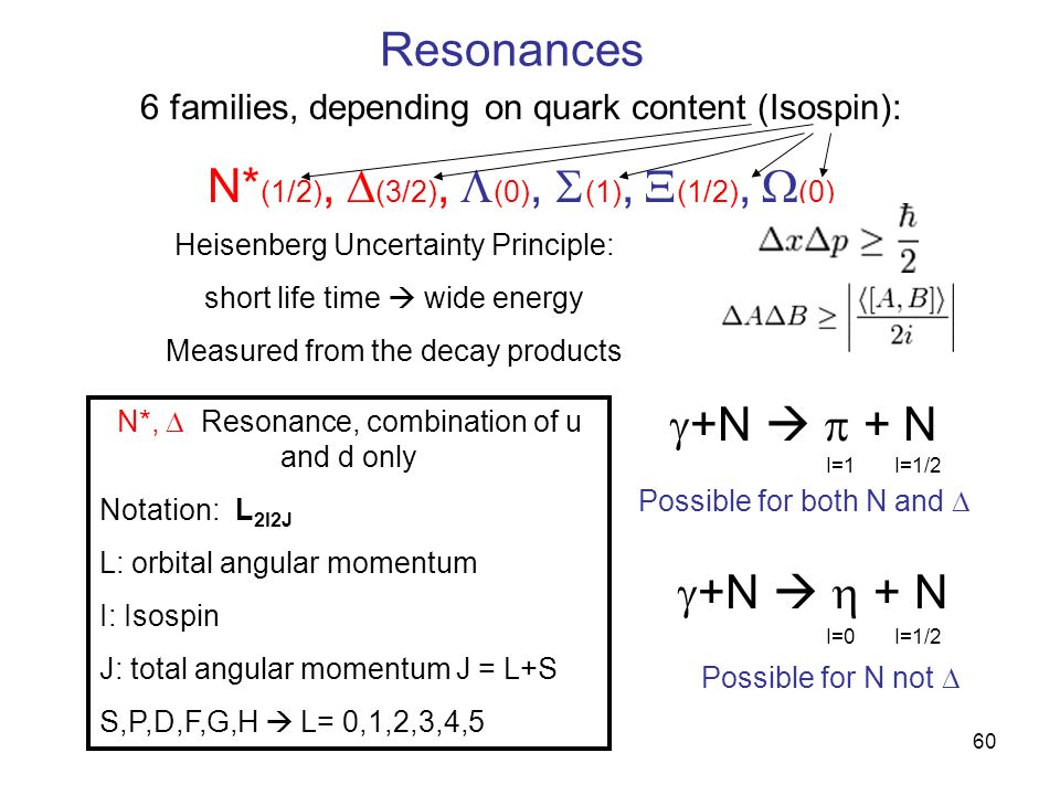 Resonances 6 families, depending on quark content (Isospin): N* (1/2), (3/2), (0), (1), (1/2), (0) N*, Resonance, combination of u and d only Notation: L 2I2J L: orbital angular momentum I: Isospin J: total angular momentum J = L+S S,P,D,F,G,H L= 0,1,2,3,4,5 +N + N Possible for N not Heisenberg Uncertainty Principle: short life time wide energy Measured from the decay products I=1 I=1/2 +N + N I=0 I=1/2 Possible for both N and 60