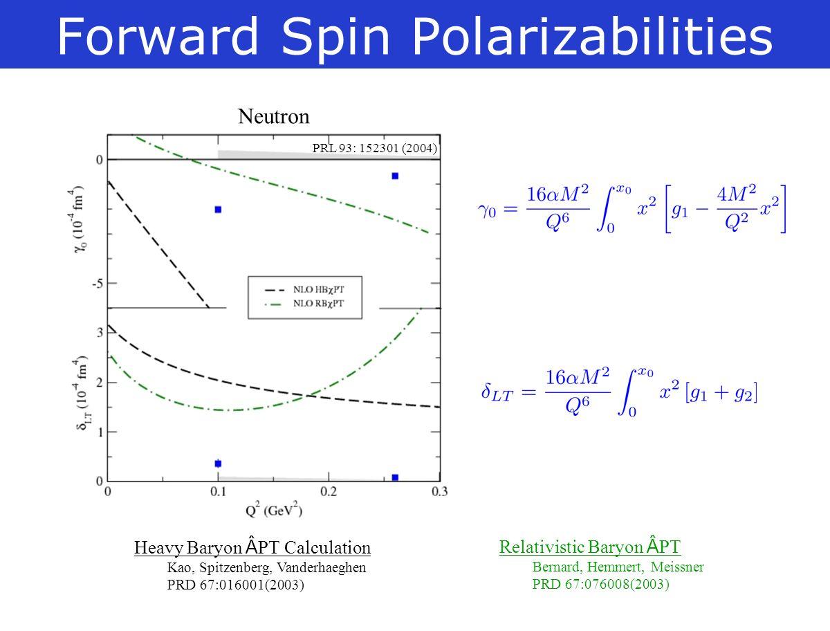 Forward Spin Polarizabilities PRL 93: 152301 (2004) Neutron Heavy Baryon PT Calculation Kao, Spitzenberg, Vanderhaeghen PRD 67:016001(2003) Relativistic Baryon PT Bernard, Hemmert, Meissner PRD 67:076008(2003)