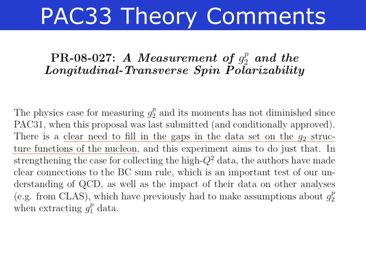 PAC33 Theory Comments