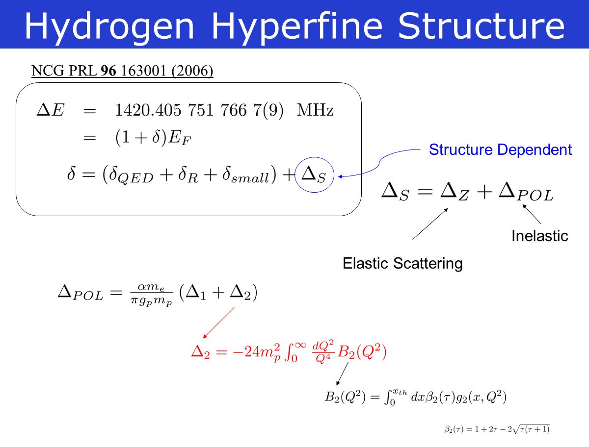 Hydrogen Hyperfine Structure NCG PRL (2006) Structure Dependent Elastic Scattering Inelastic