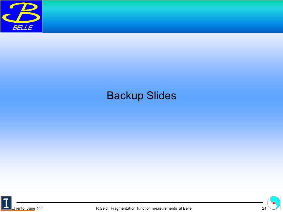 R.Seidl: Fragmentation function measurements at Belle24 Trento, June 14 th Backup Slides