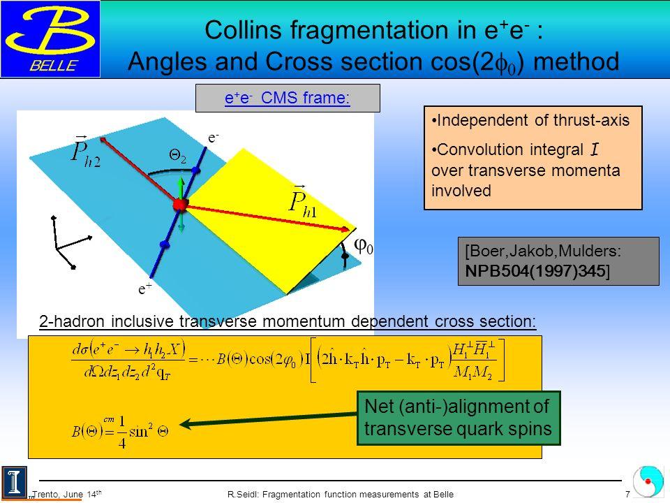 R.Seidl: Fragmentation function measurements at Belle8 Trento, June 14 th Applied cuts, binning Off-resonance data –60 MeV below (4S) resonance –29.1 fb -1 Later also on-resonance data: 547 fb -1 Track selection: –pT > 0.1GeV –vertex cut: dr<2cm, |dz|<4cm Acceptance cut –-0.6 < cos i < 0.9 Event selection: –Ntrack 3 –Thrust > 0.8 –Z 1, Z 2 >0.2 Hemisphere cut Q T < 3.5 GeV z1z1 z2z2 0123 4 5 6 78 9 0.2 0.3 0.5 0.7 1.0 0.20.30.50.71.0 5 86 1 2 3 = Diagonal bins z1z1 z2z2