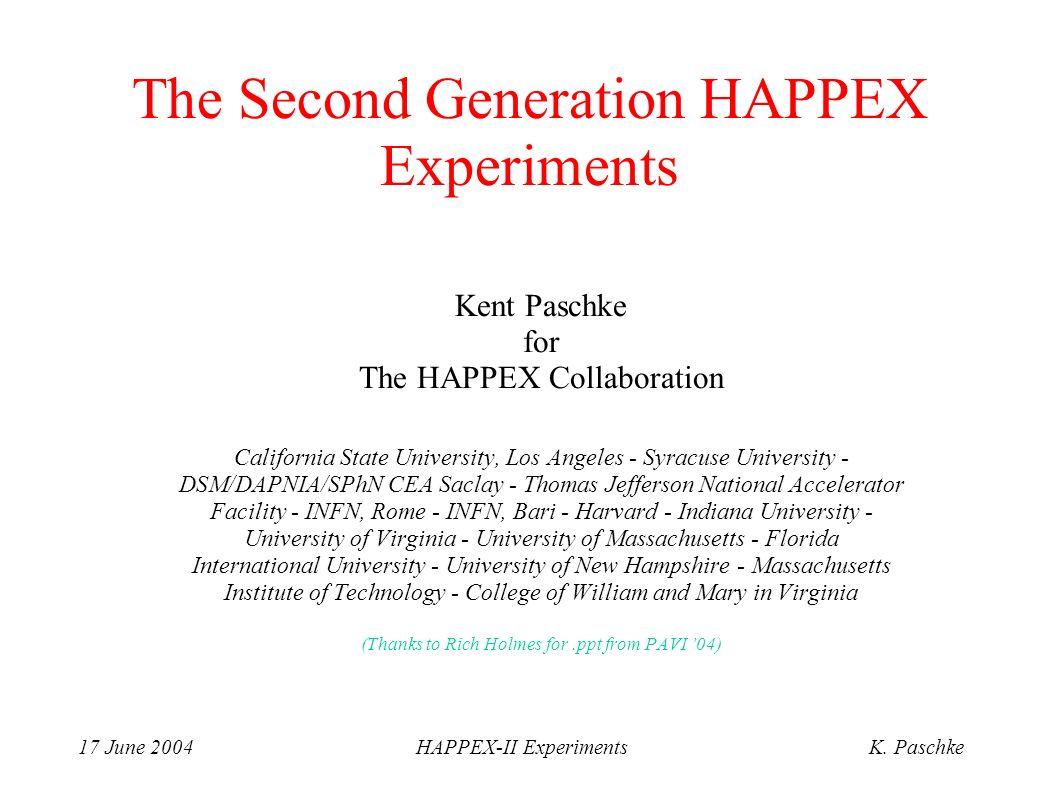 17 June 2004HAPPEX-II ExperimentsK. Paschke The Second Generation HAPPEX Experiments Kent Paschke for The HAPPEX Collaboration California State Univer