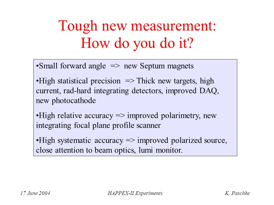 17 June 2004HAPPEX-II ExperimentsK. Paschke Tough new measurement: How do you do it.