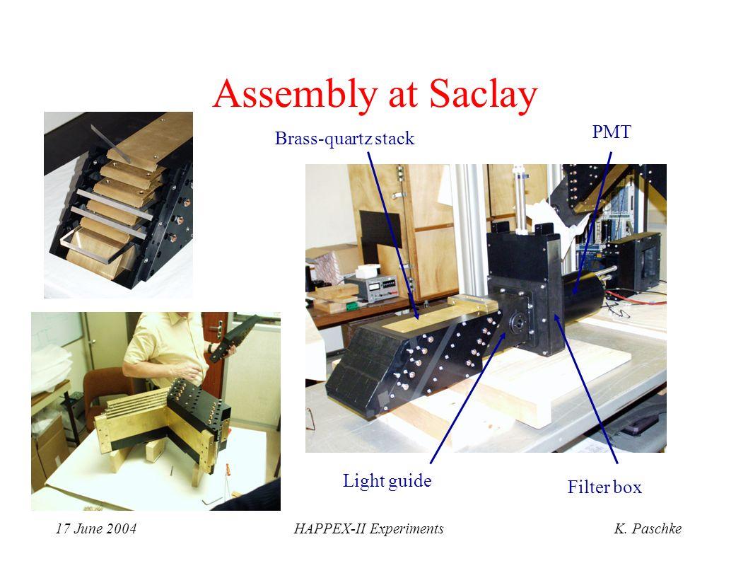17 June 2004HAPPEX-II ExperimentsK. Paschke Brass-quartz stack Light guide Filter box PMT Assembly at Saclay
