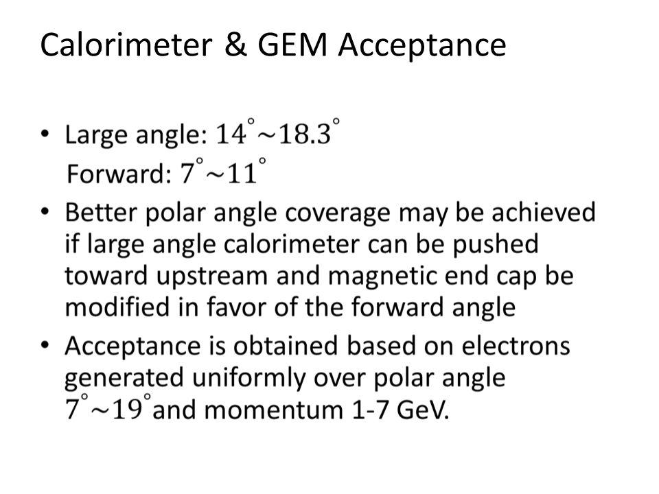 Calorimeter & GEM Acceptance