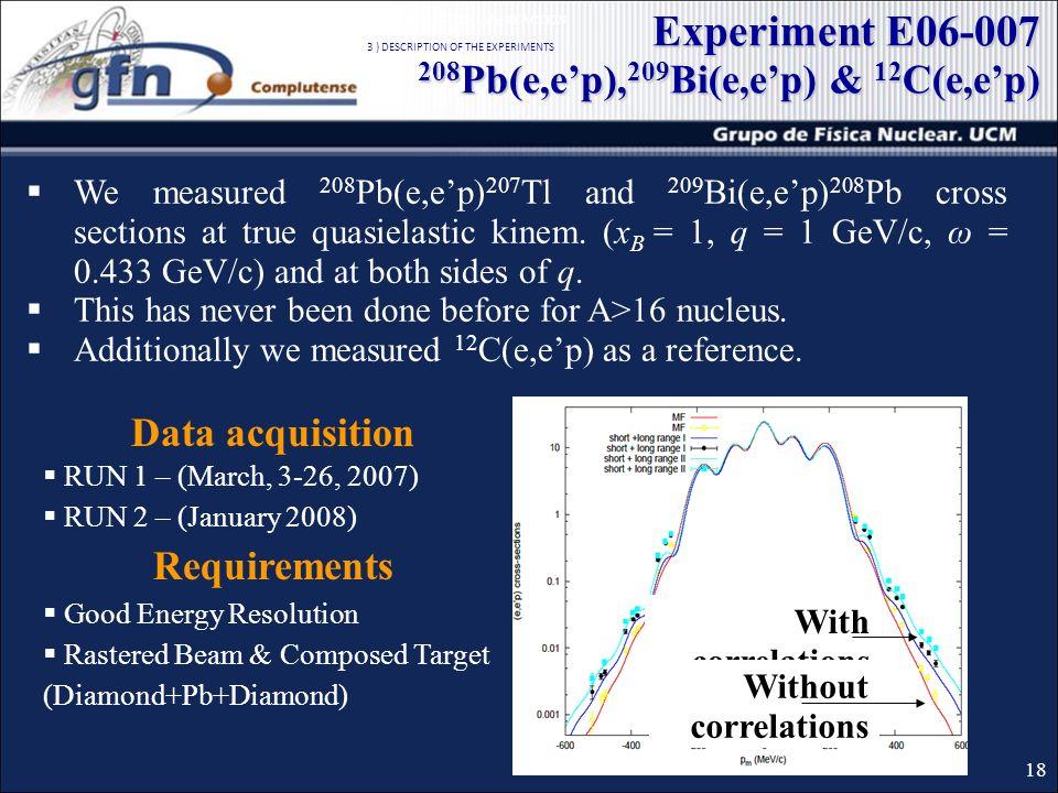 We measured 208 Pb(e,ep) 207 Tl and 209 Bi(e,ep) 208 Pb cross sections at true quasielastic kinem. (x B = 1, q = 1 GeV/c, ω = 0.433 GeV/c) and at both