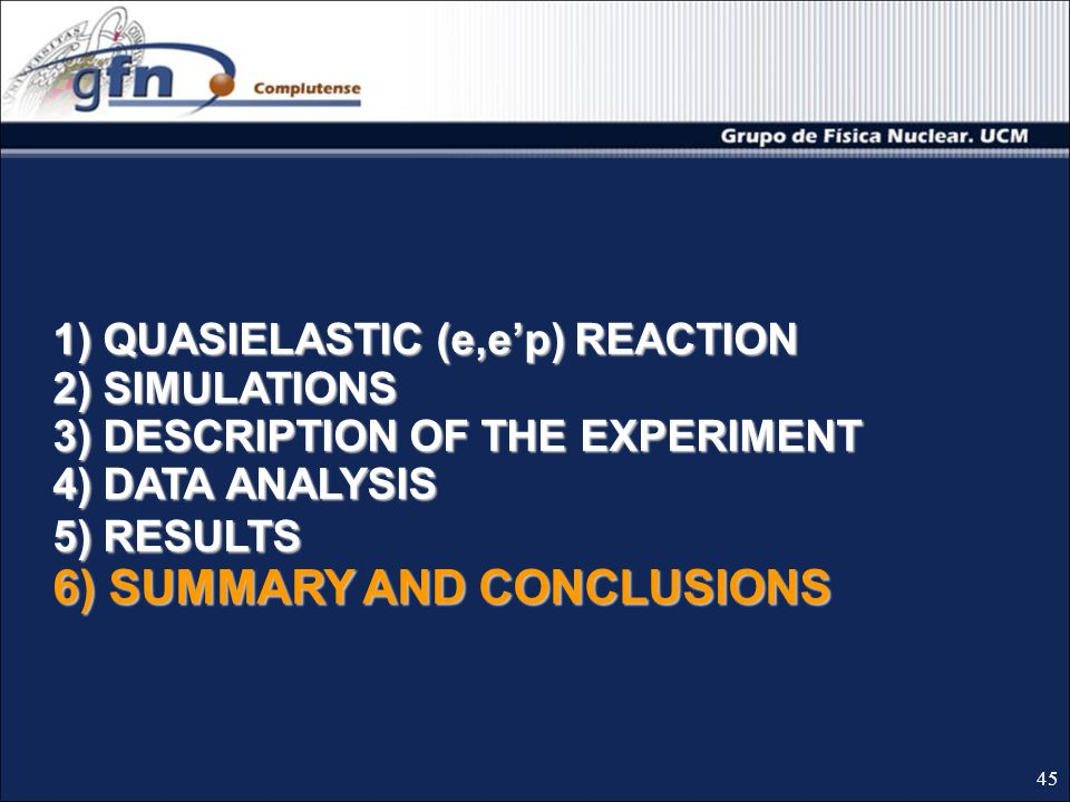 1) QUASIELASTIC (e,ep) REACTION 2) SIMULATIONS 3) DESCRIPTION OF THE EXPERIMENT 4) DATA ANALYSIS 5) RESULTS 6) SUMMARY AND CONCLUSIONS 45