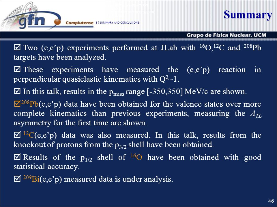 Summary Two (e,ep) experiments performed at JLab with 16 O, 12 C and 208 Pb targets have been analyzed.