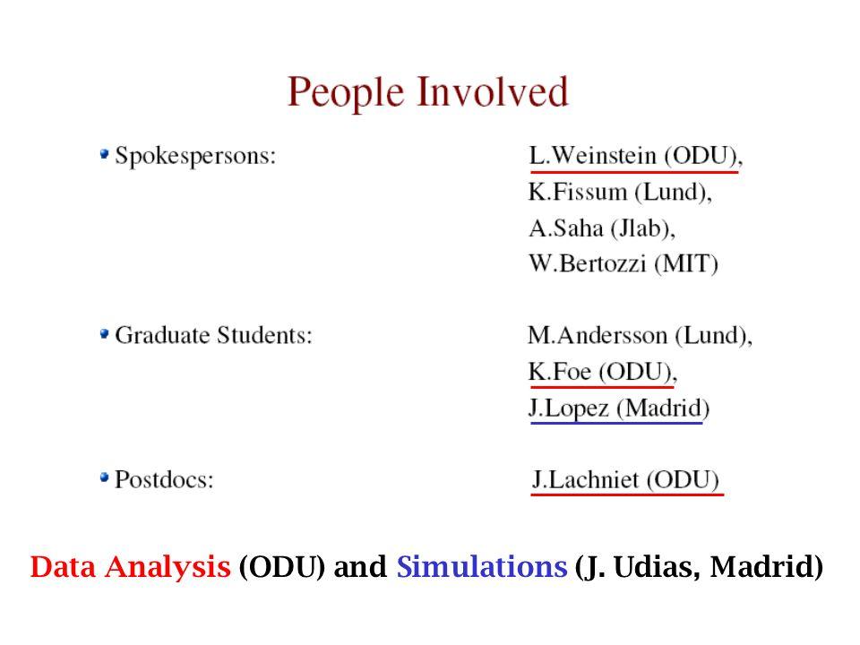 Data Analysis (ODU) and Simulations (J. Udias, Madrid)
