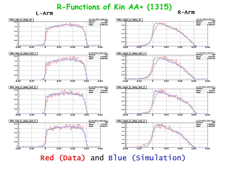 R-Functions of Kin AA+ (1315) Red (Data) and Blue (Simulation) L-Arm R-Arm