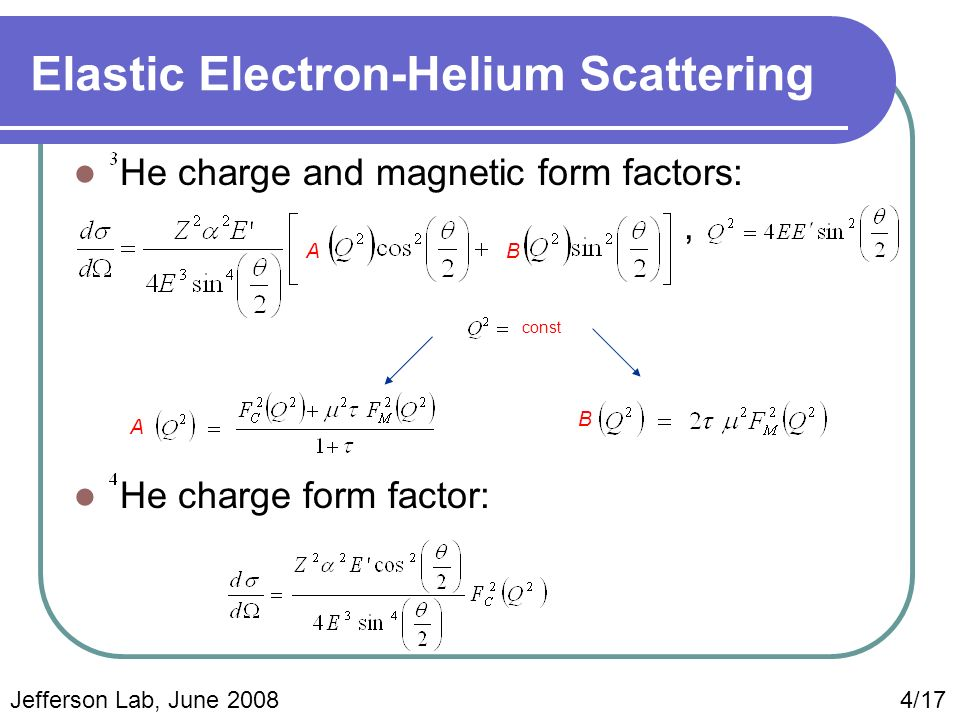 Elastic Electron-Helium Scattering He charge and magnetic form factors:, He charge form factor: AB const A B Jefferson Lab, June 2008 4/17