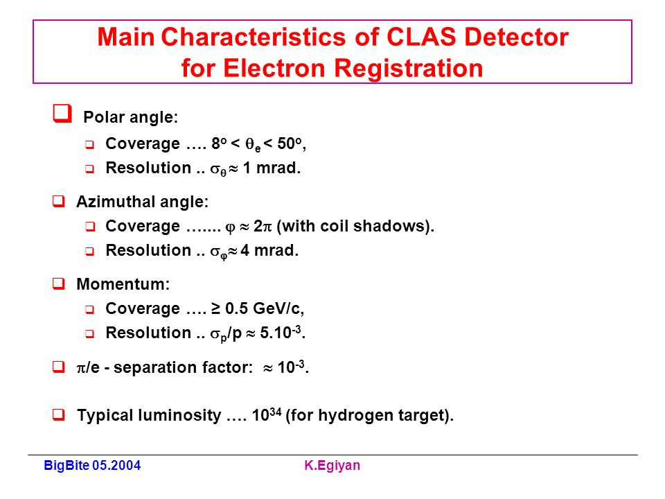 BigBite K.Egiyan Main Characteristics of CLAS Detector for Electron Registration Polar angle: Coverage ….
