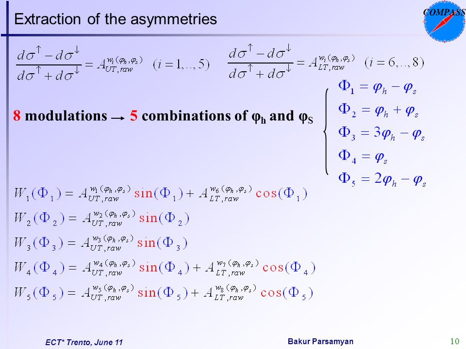 11 Bakur Parsamyan ECT* Trento, June 11 ratio product quantities For each data taking period, each cell and polarization state the Φ j distribution of the number of events can be presented like: Double Ratio method (NP B765 (2007) 31) Under the reasonable assumption on the ratio of the acceptances - to be constant before and after polarization reversal in each Φ j bin: minimizes acceptance effects spin independent terms cancel at 1 st order (Cahn) u - Up Stream cell, d - Down Stream cell, +/- - target polarization Acceptance differences cancel out
