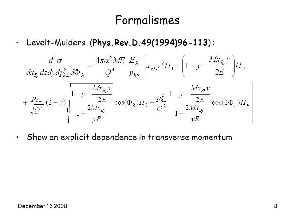 December 16 20089 Formalismes: comparison Interest: Being able to get easily cross sections from Drechsel- Tiator as function of pion transverse momentum: With :