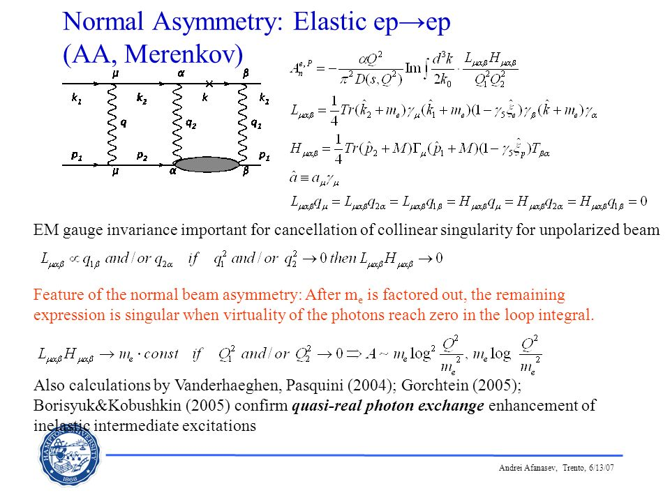 Andrei Afanasev, Trento, 6/13/07 Normal Asymmetry: Elastic epep (AA, Merenkov) EM gauge invariance important for cancellation of collinear singularity
