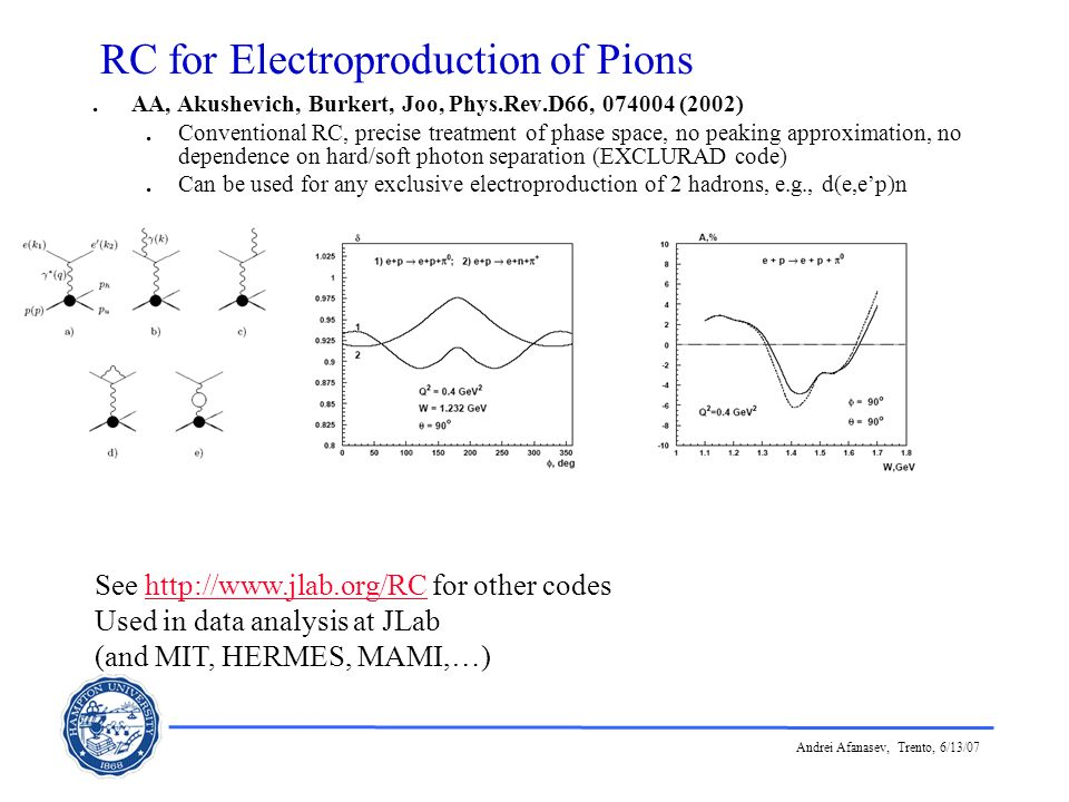 Andrei Afanasev, Trento, 6/13/07 RC for Electroproduction of Pions. AA, Akushevich, Burkert, Joo, Phys.Rev.D66, 074004 (2002). Conventional RC, precis