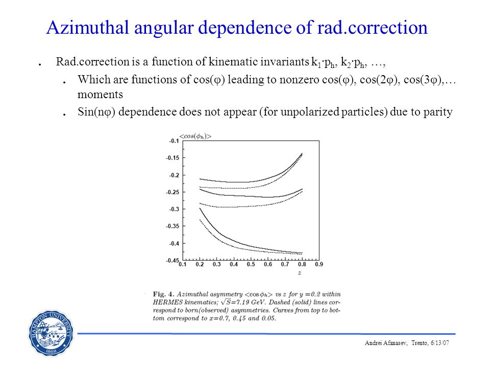 Andrei Afanasev, Trento, 6/13/07 Azimuthal angular dependence of rad.correction. Rad.correction is a function of kinematic invariants k 1 ·p h, k 2 ·p