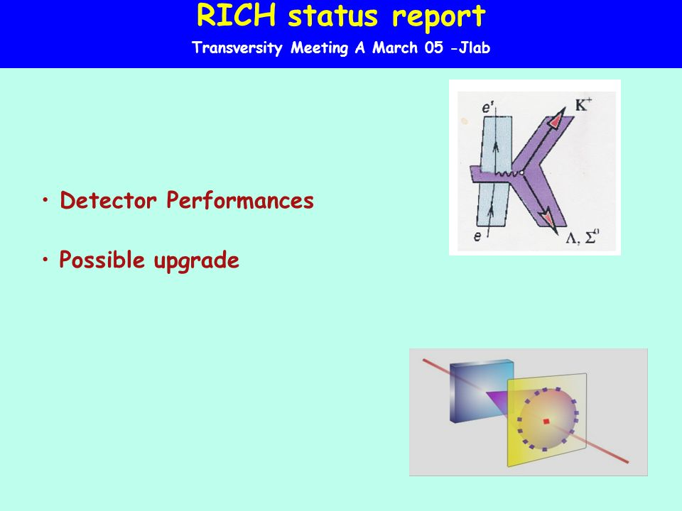 RICH status report Transversity Meeting A March 05 -Jlab Detector Performances Possible upgrade