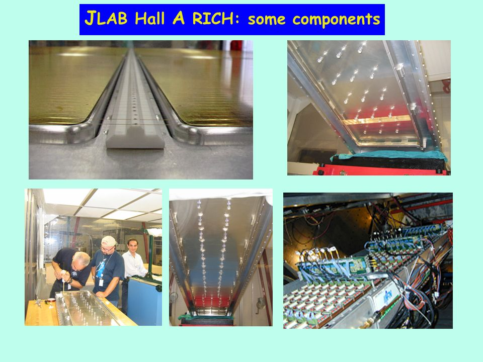 J LAB Hall A RICH: some components