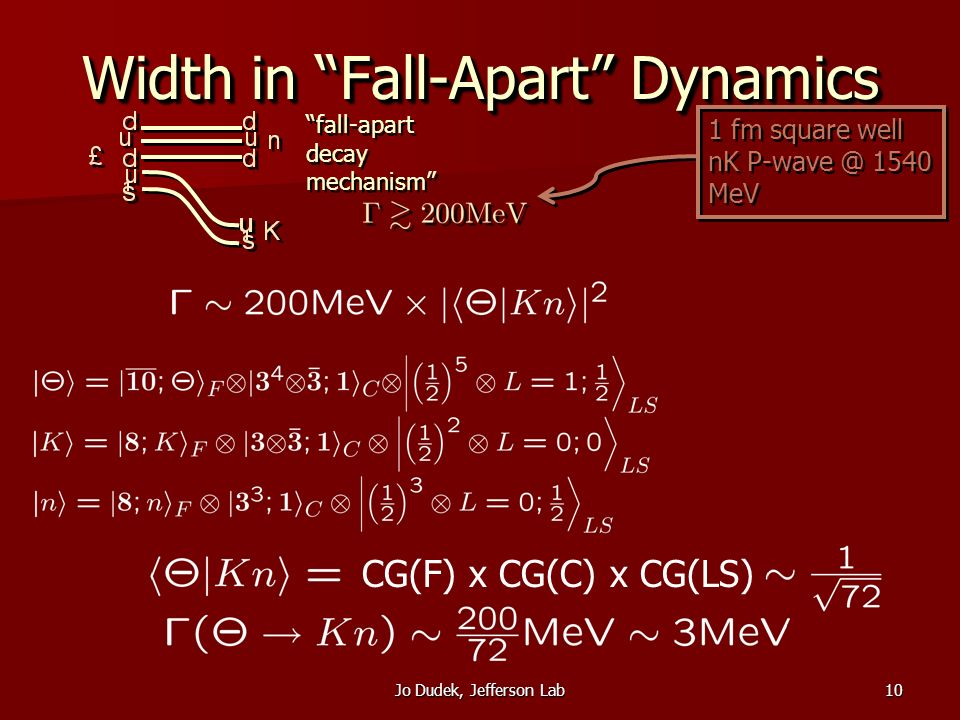 Jo Dudek, Jefferson Lab10 Width in Fall-Apart Dynamics 1 fm square well nK 1540 MeV CG(F) x CG(C) x CG(LS) fall-apart decay mechanism