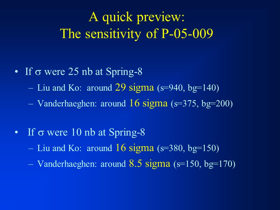 A quick preview: The sensitivity of P If were 25 nb at Spring-8 –Liu and Ko: around 29 sigma (s=940, bg=140) –Vanderhaeghen: around 16 sigma (s=375, bg=200) If were 10 nb at Spring-8 –Liu and Ko: around 16 sigma (s=380, bg=150) –Vanderhaeghen: around 8.5 sigma (s=150, bg=170)