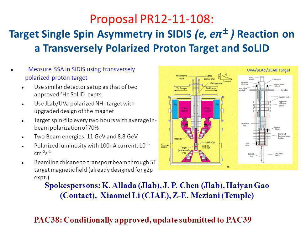 Measure SSA in SIDIS using transversely polarized proton target Use similar detector setup as that of two approved 3 He SoLID expts. Use JLab/UVa pola