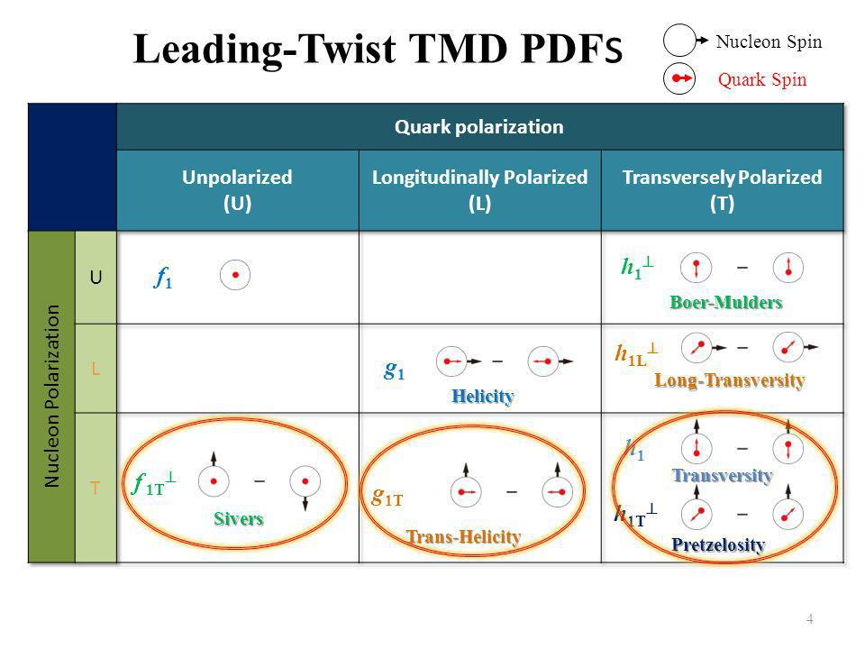4 Leading-Twist TMD PDF s f 1 = f 1T = Sivers Helicity g 1 = h1 =h1 = Transversity h 1 =Boer-Mulders h 1T = Pretzelosity Nucleon Spin Quark Spin g 1T