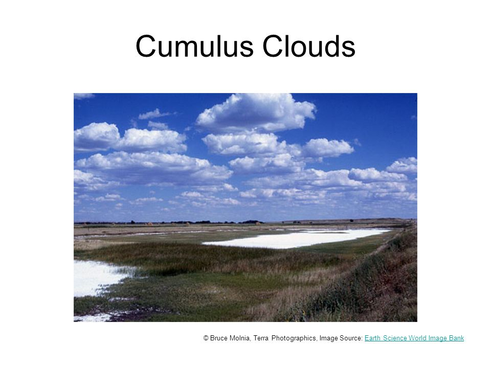 Cumulus Clouds © Bruce Molnia, Terra Photographics, Image Source: Earth Science World Image BankEarth Science World Image Bank
