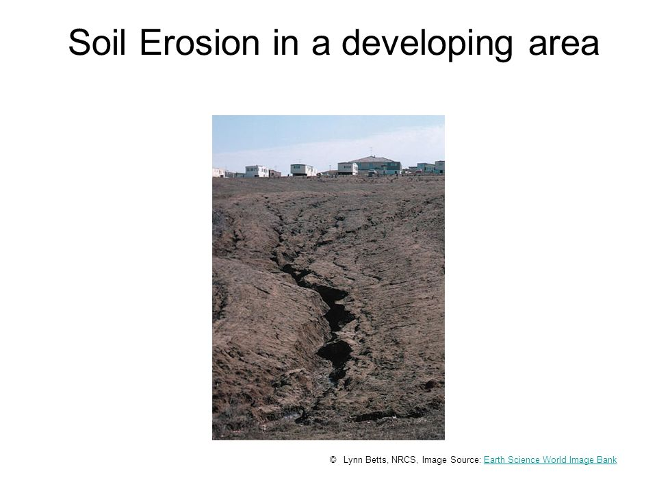 Soil Erosion in a developing area © Lynn Betts, NRCS, Image Source: Earth Science World Image BankEarth Science World Image Bank