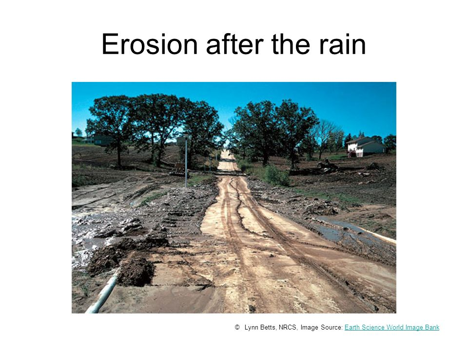 Erosion after the rain © Lynn Betts, NRCS, Image Source: Earth Science World Image BankEarth Science World Image Bank