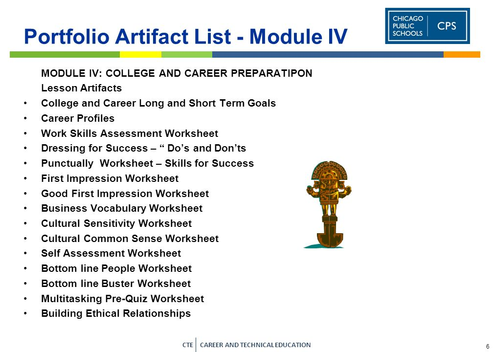 4 CTE CAREER AND TECHNICAL EDUCATION Portfolio Artifact List - Module II MODULE II: COLLEGE AND CAREER EXPLORATION Lesson Artifacts Interest Profiler Career Interest Areas Chart (Career Clusters) Values Clarification Worksheets Interest Inventory Worksheets Social Inventory Worksheet Job Profile Worksheet Informational Interviews Basic Skills Survey Changing World Changing Careers Worksheet College Budget College and Career Vision Statement CPS Four Year High School Plan www.whatsnextillinois.org High School Graduation Requirements www.whatsnextillinois.org