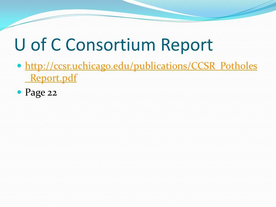U of C Consortium Report http://ccsr.uchicago.edu/publications/CCSR_Potholes _Report.pdf http://ccsr.uchicago.edu/publications/CCSR_Potholes _Report.pdf Page 22