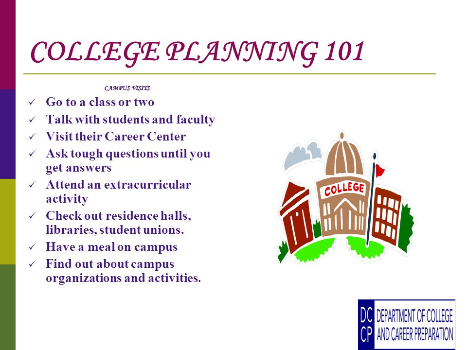 COLLEGE PLANNING 101 CAMPUS VISITS Go to a class or two Talk with students and faculty Visit their Career Center Ask tough questions until you get answers Attend an extracurricular activity Check out residence halls, libraries, student unions.