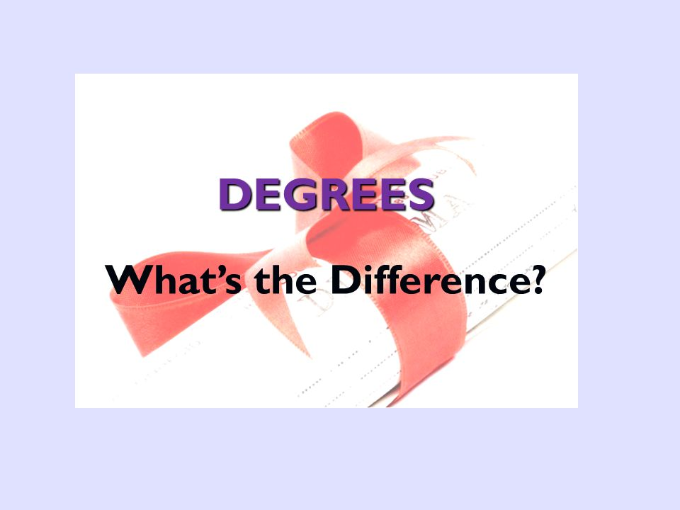DEGREES Whats the Difference?