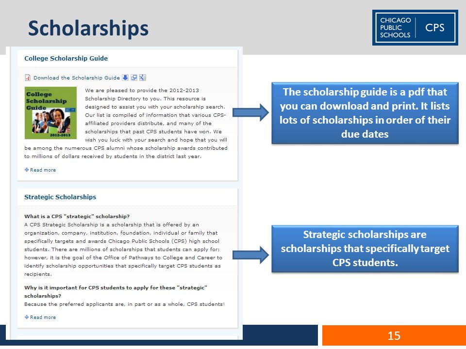 Scholarships ECCE – Performance Team 15 The scholarship guide is a pdf that you can download and print.