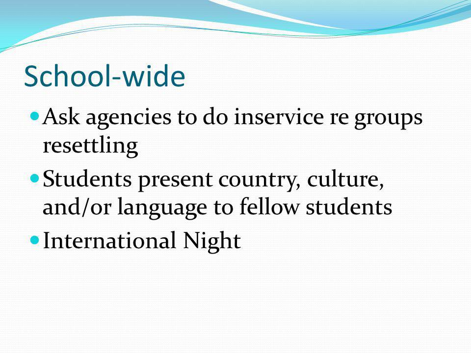 School-wide Ask agencies to do inservice re groups resettling Students present country, culture, and/or language to fellow students International Night