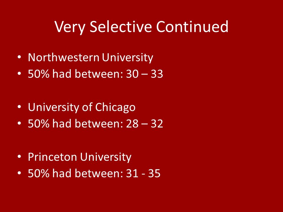 Very Selective Continued Northwestern University 50% had between: 30 – 33 University of Chicago 50% had between: 28 – 32 Princeton University 50% had between: