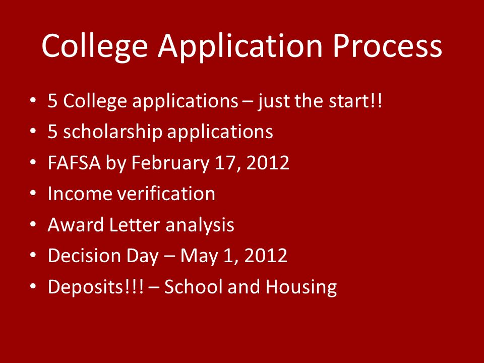 College Application Process 5 College applications – just the start!.