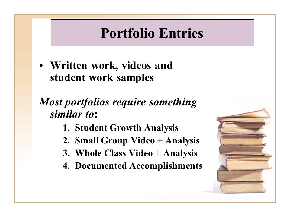 Written work, videos and student work samples Most portfolios require something similar to: 1. Student Growth Analysis 2. Small Group Video + Analysis