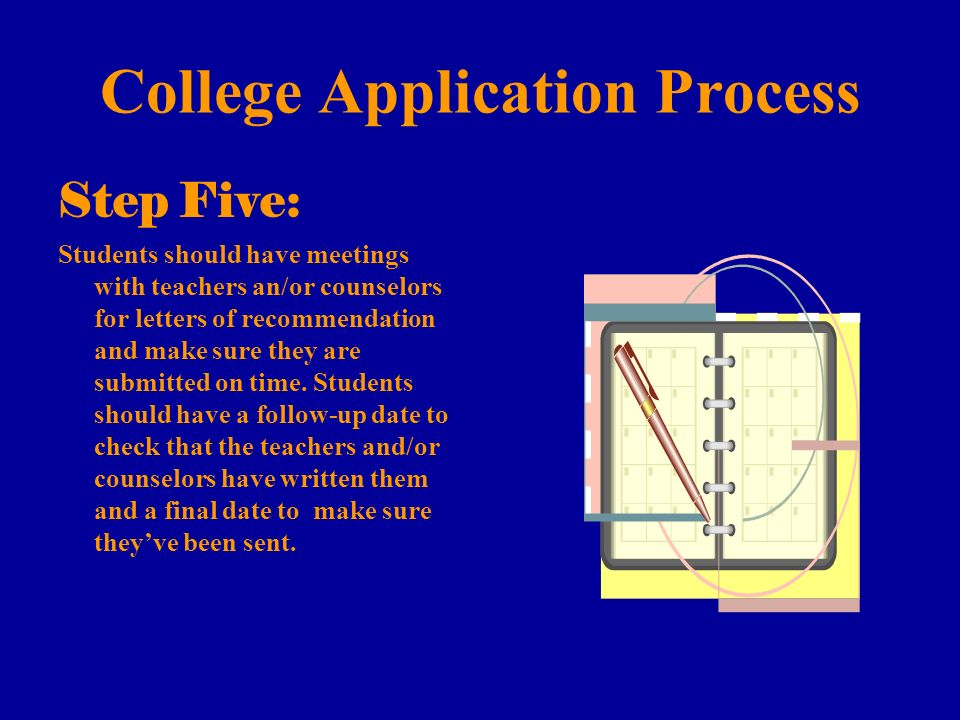 College Application Process Step Five: Students should have meetings with teachers an/or counselors for letters of recommendation and make sure they are submitted on time.