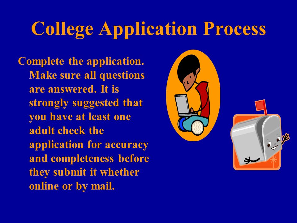 College Application Process Complete the application.
