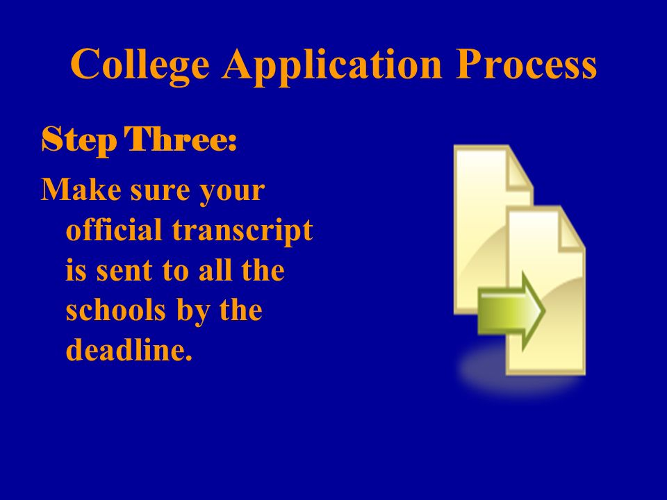College Application Process Step Three: Make sure your official transcript is sent to all the schools by the deadline.