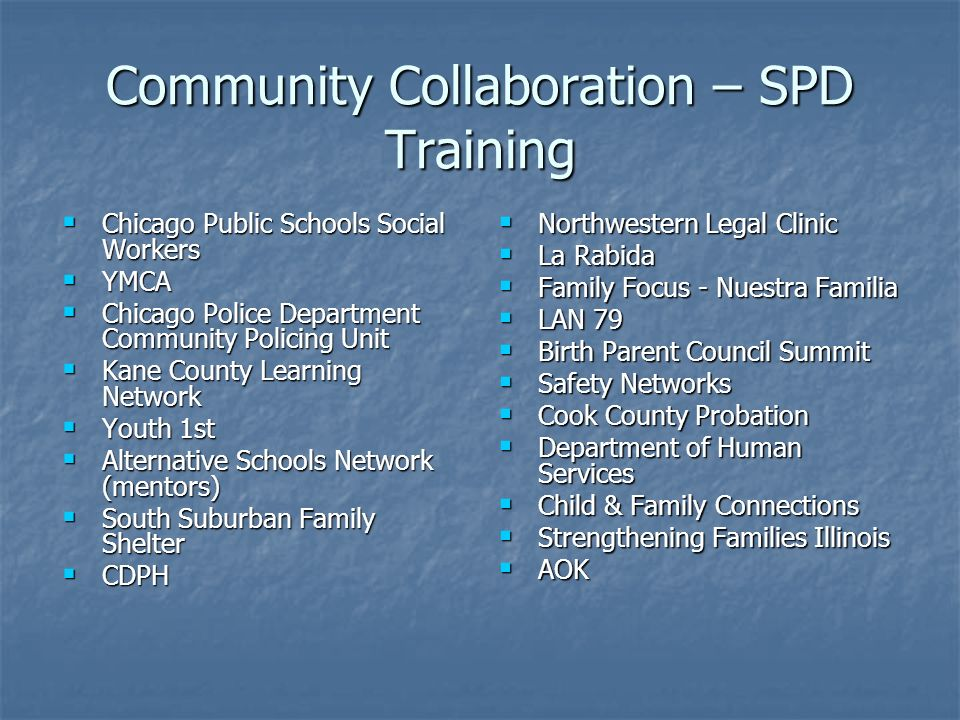 Community Collaboration – SPD Training Chicago Public Schools Social Workers Chicago Public Schools Social Workers YMCA YMCA Chicago Police Department Community Policing Unit Chicago Police Department Community Policing Unit Kane County Learning Network Kane County Learning Network Youth 1st Youth 1st Alternative Schools Network (mentors) Alternative Schools Network (mentors) South Suburban Family Shelter South Suburban Family Shelter CDPH CDPH Northwestern Legal Clinic Northwestern Legal Clinic La Rabida La Rabida Family Focus - Nuestra Familia Family Focus - Nuestra Familia LAN 79 LAN 79 Birth Parent Council Summit Birth Parent Council Summit Safety Networks Safety Networks Cook County Probation Cook County Probation Department of Human Services Department of Human Services Child & Family Connections Child & Family Connections Strengthening Families Illinois Strengthening Families Illinois AOK AOK