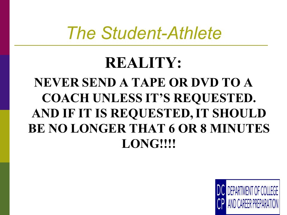 The Student-Athlete REALITY: NEVER SEND A TAPE OR DVD TO A COACH UNLESS ITS REQUESTED.