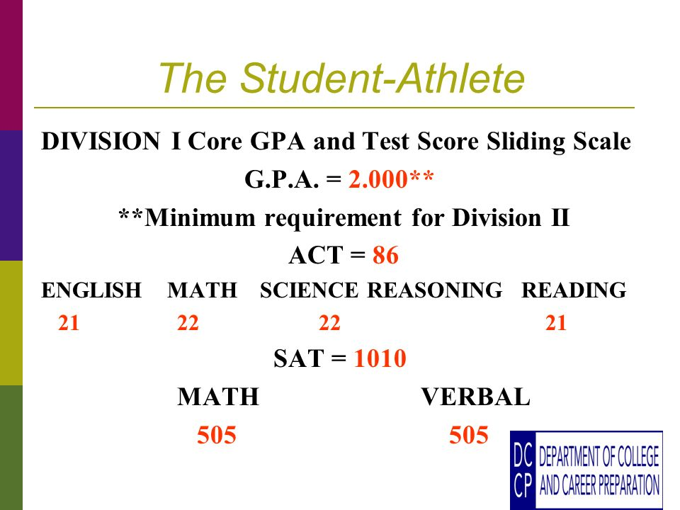 The Student-Athlete DIVISION I Core GPA and Test Score Sliding Scale G.P.A.