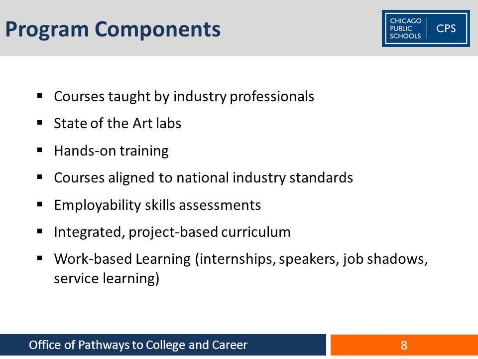 Program Components Courses taught by industry professionals State of the Art labs Hands-on training Courses aligned to national industry standards Emp