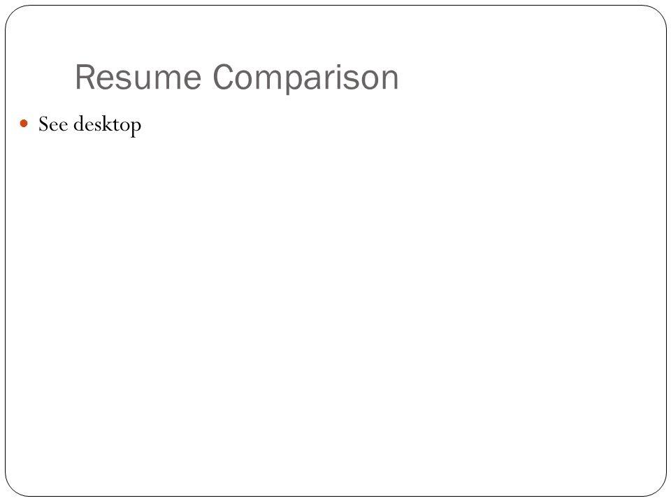 Resume Comparison See desktop