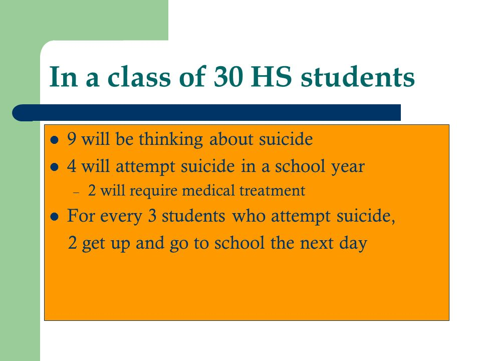 In a class of 30 HS students 9 will be thinking about suicide 4 will attempt suicide in a school year – 2 will require medical treatment For every 3 students who attempt suicide, 2 get up and go to school the next day